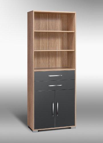 MAJA-Möbel 1233 2574 Aktenregal mit Schubladen und Türen, Sonoma-Eiche-Nachbildung - grau Hochglanz, Abmessungen BxHxT: 80 x 214,5 x 40 cm