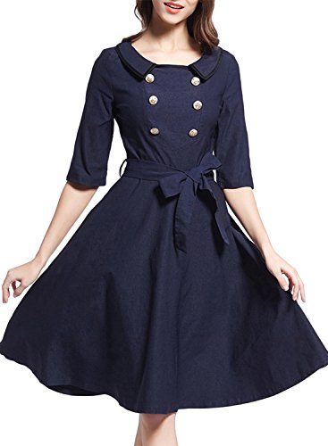 ACHICGIRL Women's Vintage Half Sleeve Tie Waist Swing Dress Navy
