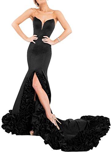Promgirl House Damen 2017 Fashion Meerjungfrau Abendkleider Ballkleider Cocktail Hochzeitskleider Lang Schwarz