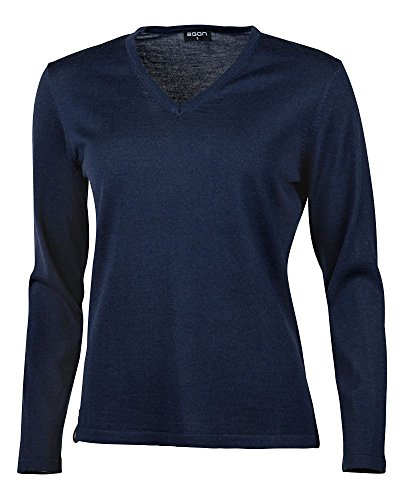 agon - Premium Damen Strick-Pullover, extrafein, 100% Merino-Wolle, V-Ausschnitt, Total-Easy-Care Marine 38/M