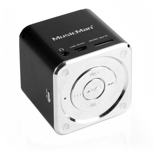 MusicMan Mini Soundstation (MP3 Player, Stereo Lautsprecher, Line In Funktion, SD/microSD Kartenslot) schwarz