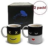 Magic Morning taza de café -2unidades, color amarillo y blanco 12oz taza de té de cerámica de calor sensible cambio de color y de la cara, por chuzy Chef