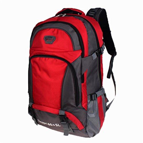 Outdoor borsa da viaggio per il tempo libero, impermeabile zaino di grandi dimensioni, esterno in poliestere arrampicata zaino, all'aperto zaino sport 65L, borse per studenti, sacchetto del calcolator red
