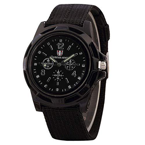 Abstand Armbanduhr FGHYH Herren Soldat Militär Grün Wählen Armee Sport Style Quarz Armbanduhr Uhr Watch Armbanduhr(Schwarz)