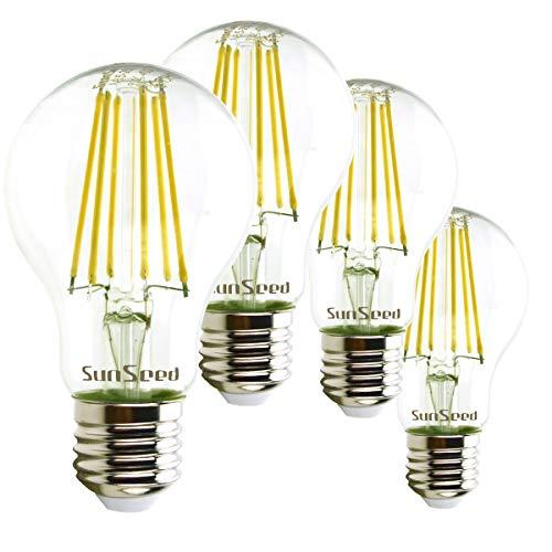 SunSeed 4x Ampoule Filament LED Standard E27 9W équivalent 90W Blanc Naturel 4000K