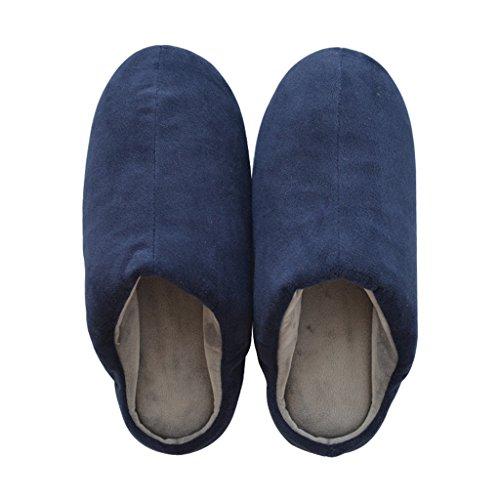 Chaussons DWW Pantoufles Pantoufles en Coton Glissant Doux Mute Chaud Mâle Plancher Chaussures de Chaleur indépendamment de Gauche et de Droite Bleu