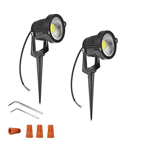 (Onerbuy 12V LED Rasen Licht Wasserdichte Außenwände Bäume Flaggen Scheinwerfer 5 Watt COB Garten Hof Weg Landschaft Beleuchtung mit Spike Stand, Packung mit 2 (Kaltes Weiß))