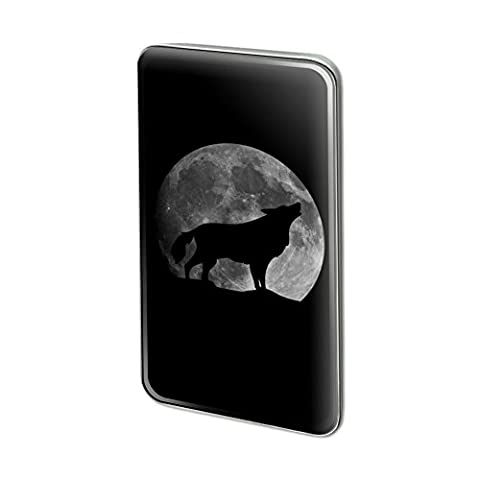 Wolf Howling Moon Silhouette Metal Rectangle Lapel Hat Pin Tie Tack Pinback