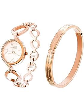 Souarts Damen Uhr Geschenk Set mit Damen einfach Stil Casual Analoge Quary Armbanduhr und Armreif Rose gold Farbe