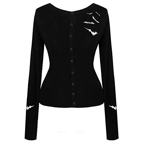 Bianco e nero pipistrello vampiro gotico Halloween Psychobilly Cardigan Top qualità eccellente Black 42 S