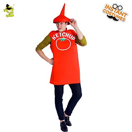 Kinder Ketchup Kostüm - GAOGUAIG AA Neue Ankunft Ketchup Kostüm Cosplay Red Tomato Jumpsuit Lustige Kostüm Karneval Party Ketchup Kostüme for Erwachsene Unisex SD (Color : Onecolor, Size : Onesize)