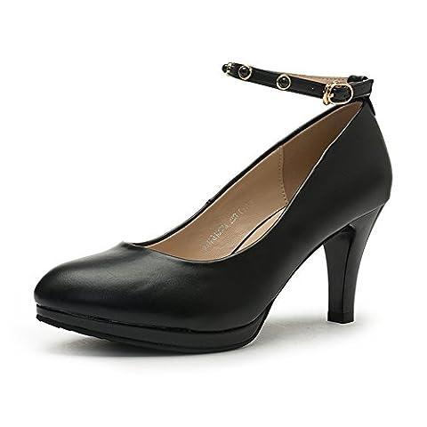 ladies high heels,tête ronde un mot chaussures boucle-A Longueur du pied=22.8CM(9Inch)