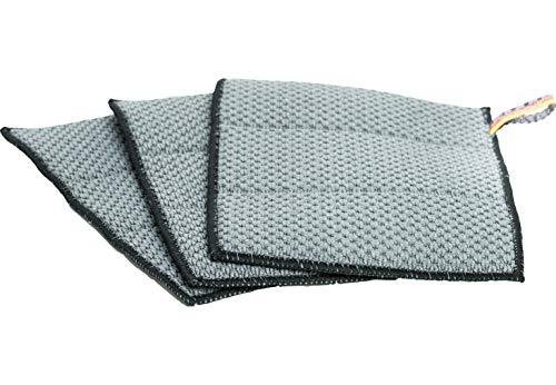 Premium Carbon Mikrofaser Spültücher - Vorreinigungstuch mit unfassbarer Aufnahmekapazität & extrem Stabiler Struktur - ideal zur professionellen Reinigung für Küche & Auto, Boote 26x19cm -900gsm-3er