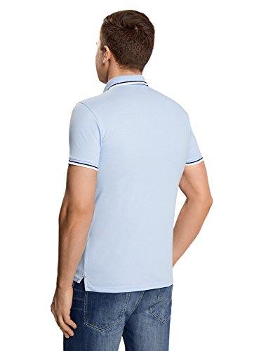 oodji Ultra Herren Jacquard-Poloshirt mit Kontrastbesatz Blau (7079B)