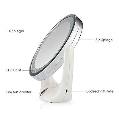 BROADCARE Kosmetikspiegel Beleuchtet Spiegel 1X/ 5X Vergrößerungsspiegel LED Schminkspiegel Für Make-Up, Rasieren