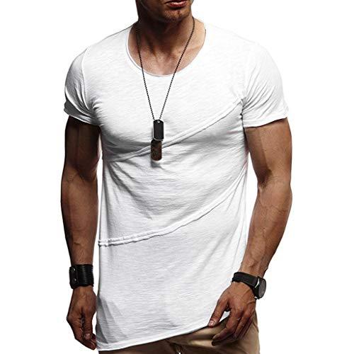 T-Shirts Herren Muscle Sommer Patchwork Solide Kurzarm Oansatz Top Bluse Atmungsaktive Sweatshirt Männer Training Slim Fit Tankshirt Weiß Shirt