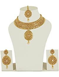 MUCH MORE 22k Gold Plated Brass Made Polki Necklace Set For Women Wedding Jewelry