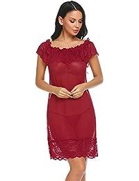 6f44199b0c INZOE Damen Sexy Bequem Lingerie Kleid V-Ausschnitt Spitze Babydolls  Dessous Set Mit G-String Neglige Minikleid…