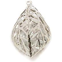HAND H0665 3D Modelo elegante de la hoja colgante del ajuste que contiene cristales de Diamante, Tamaño 38 mm x 20 mm Paquete de 3 coloreado plata