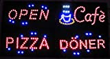 LED LEUCHTSCHILD OPEN GEÖFFNET SCHILD LEUCHTREKLAME REKLAME DISPLAY WERBUNG NEU (Pizza)