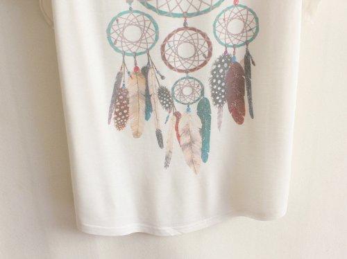 Luna et Margarita T-shirt bianca pipistrello dimensione del manico di cotone della miscela girocollo 40 42 44 46 48 50 pendente della piuma