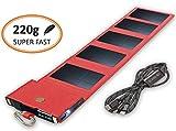 Caricabatterie Solare Portatile Dotato di Tecnologia SunPower, Powerbank Caricatore Veloce, Formate Tascabile, Cavo Universale, Compatibile con IPhone, Samsung, Huawei, rosso