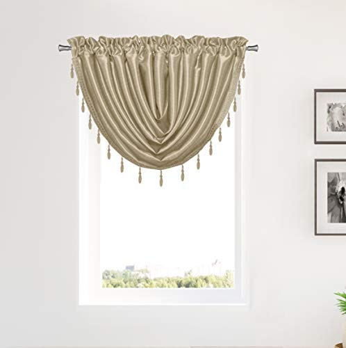 Duck River Textile Sensations Beaded Trim Waterfall Curtain Valance Set for Small Kitchen Window, Cafe, Bath, Laundry or Bedroom, 50 X 37 Inch, Antique Gold