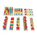 NON Homyl Juguete de Bloques de Apilamiento de Madera Montessori Material Infantil Sensorial - 8 Piezas