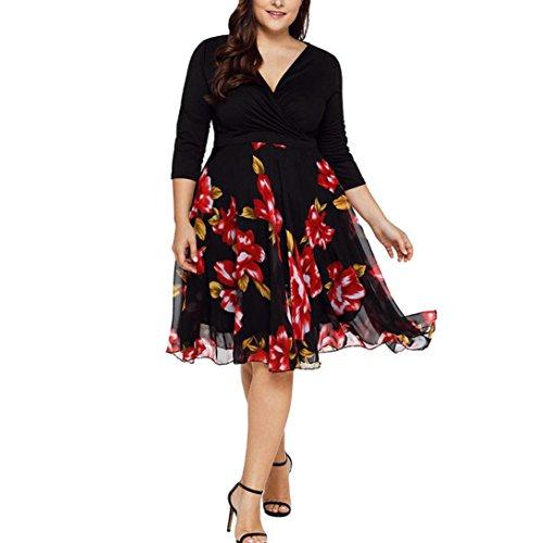 VJGOAL Damen Kleid, Frauen Plus Size Mode V-Ausschnitt Floral Maxi Abend Cocktail Party Hochzeit Boho Strand Frühling Sommerkleid (4XL / 50, W-Chiffon-schwarz) - Maxi-kleid Chiffon Plus Size