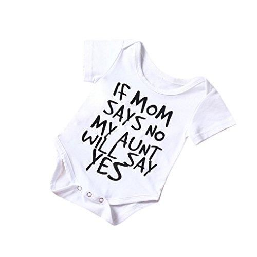 Omiky® Neugeborenes Baby Jungen Mädchen Baumwolle Strampler Overall Body Kinder Kleidung Outfit (6-12Monate, Weiß)