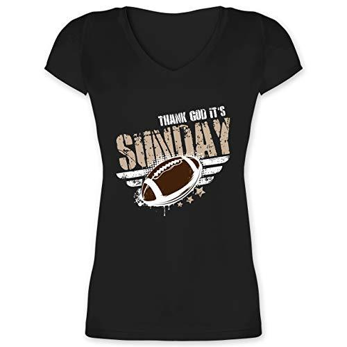 American Football - Thank God Its Sunday Football - XL - Schwarz - XO1525 - Damen T-Shirt mit V-Ausschnitt