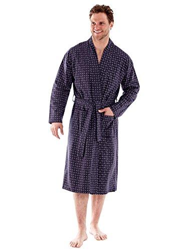 100 % hommes brossé PAISLEY confortable coton flanelle robes de chambre (M-gris)