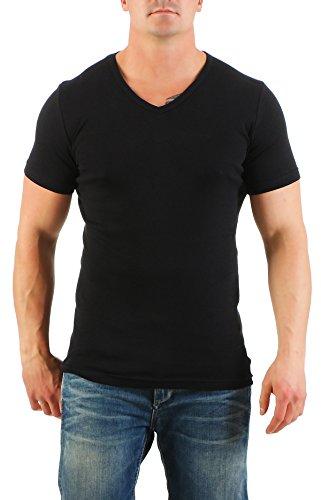 2er Pack Herren T-Shirt mit V-Ausschnitt Nr. 446/1500 ( Schwarz-Weiß / XXL ) - 2