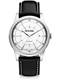 Golana Advanced Men's Automatic Watch with Silver Dial Analogue Display and Black Leather Strap AD400-2