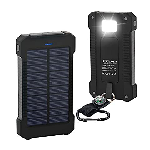 Ecandy 10000mAh Portable Solar Charger Rain-Resistant Shockproof, Design for Outdoor, Vovage, Dual USB output Power Bank for iPhone, iPod, iPad, Samsung, HTC, GPS & Gopro Camera,Black