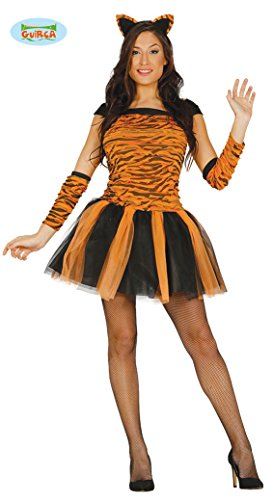 Sexy Tiger Kostüm für Damen Karneval Fasching Tier Tigerkostüm Kleid Tutu Gr. M, Größe:S
