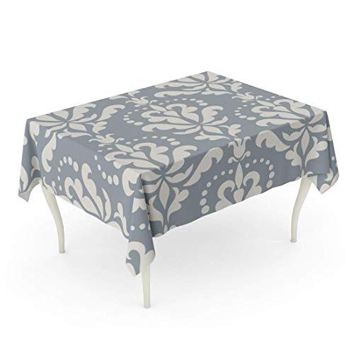 LIS HOME Rechteck-Tischdecken-Muster-Damast-schöne reiche alte Luxusverzierungs-Blau-altmodische königliche Blumenmuster-Schablonen-Paisley-Tischdecke