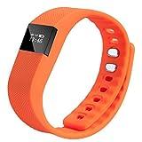 KingProst-Fitness Smartwatch Armbanduhr Fitness Tracker AktivitäTstracker mit Herzfrequenzmesser SchrittzäHler Uhr Wasserdicht Pulsuhren Smart Armband (Orange)