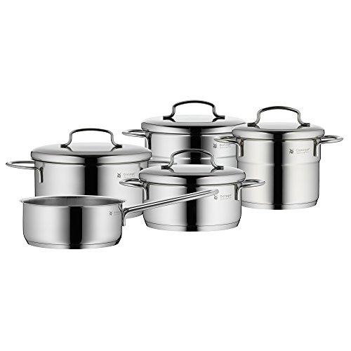 WMF Mini Topfset, 5-teilig, mit Metalldeckel, Kochtopf, Stielkasserolle, Cromargan Edelstahl...