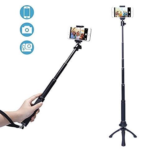 Fotopro Mini Trépied, Selfie Stick, avec Adaptateur Téléphonique, Adaptateur de Gopro et Télécommande Bluetooth pour iPhone, Samsung et autres Smartphones, Appareil Photo, Gopro …