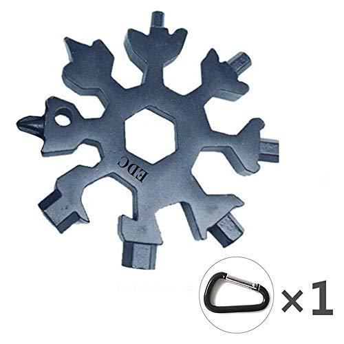 18-in-1 Multitool Edelstahl Fahrrad Multifunktionswerkzeug, Schneeflocke Multi-Tool Schlüsselanhänger Flaschenöffner Ringschlüssel Sechskantschlüssel, für militärische Enthusiasten und Outdoor EDC