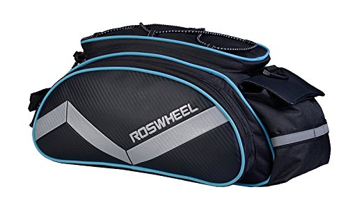 Bicycle Waterproof Rear Seat Trunk Bag with Should Strap, Blue - 2