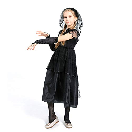 Ghost Macht Ein Kostüm - DONGBALA Halloween Brautkleid, Kind Zombie Braut Halloween-Kostüm Ghost Braut Cosplay Brautmode Leistungskleidung Für Mädchen Schwarz Kleid + Schleier,140cm