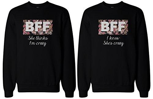 BFF regalo, BFF suéteres–Crazy BFF Floral impresión sudaderas para mejores amigos -  negro -  izquierda-Medium / derecho-Medium