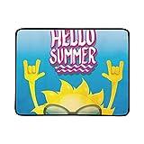 WOCNEMP Hola Summer Rock N Roll Poster Portátil y Plegable Estera de Manta de 60x78 Pulgadas Práctica Estera para Acampar Picnic Playa Interior Viaje al Aire Libre