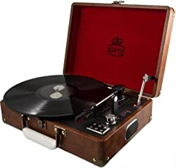 GPO Attache Record Player/Turntable | Portable Record Player | Retro Design Turntable (Brown)