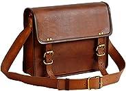 """13"""" leather messenger bag laptop case office briefcase gift for men computer distressed shoulde"""