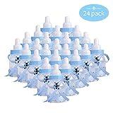 24 pcs botella de caramelo, CtopoGo favores de la fiesta de bienvenida al bebé caja de regalo del estilo alimentador botella botellas cajas dulces porta dulces confeti regalo para nacimiento - azul