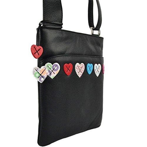 Mala Leather, Borsa a tracolla donna Nero (nero)