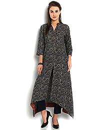 INDIBELLE Women's Cotton Asymmetrical Hemline Kurta